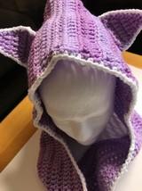 NEW Handmade USA Hooded Scarf Scoodie Wrap HOODIE PURPLE-CROCHET CAT KIT... - $17.66