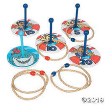 Shark Party Life Preserver Game - wooden ring toss game set - $20.61