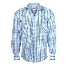 Men's Checkered Plaid Dress Shirt - Light Blue, Medium (15-15.5) Neck 32/33 Slee