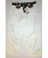 New NWT Designer 2 Womens Dolce & Gabbana White Pants Crop Italy 38 Flowers - $278.00