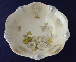 "Vintage German Lusterware Porcelain China Floral 10"" Serving Bowl Dish F... - $28.05"