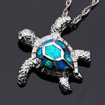 925 Sterling Silver Pendant Opal Turtle opal w 925 SS Chain SALE! [PEN-188] - $14.85