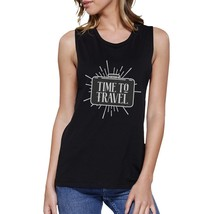 Time To Travel Womens Black Muscle Top - $14.99