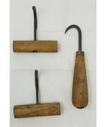 Set of 3 Antique Cargo Ice Hay Bale Meat Hook Wood Handle Farm Tool Rust... - $24.74