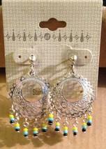 Vintage Silver Stainless Steel Bead Dangles Post Back Pierced Ear Hoop Earrings! - $43.49