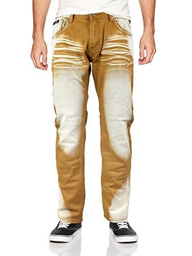 Contender Men's Moto Quilted Zip Distressed Ripped Denim Jeans