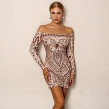 Brand Designer Designer Off Shoulder Matching Beaded Sequin Party Dress in 3 Col image 2