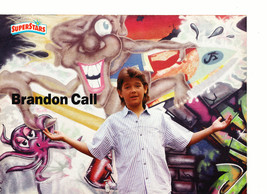 Brandon Call teen magazine pinup clipping weird wall behind him open arms - $3.50