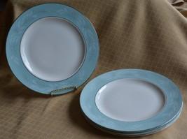4 aqua Homer Laughlin Cavalier Romance G58N5  dinner plates dishes - $10.62