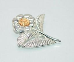 Danecraft Dual Tone Gold Silver Tone Flower Brooch Pin Vintage - $13.86