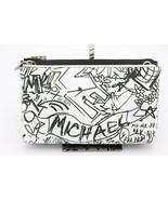 NWT MICHAEL Michael Kors Adele Graffiti Black White Leather Crossbody Ba... - $128.00
