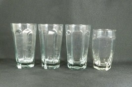 3 Vintage Anchor Hocking Glasses Tumblers Hexagon Shape Base Clear BONUS... - $14.84