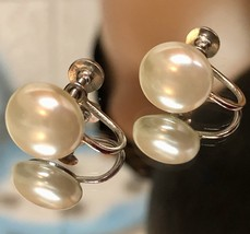 Vintage 1960s Silvertone White Faux Pearl Screw Back Earrings ~Signed H/... - $15.20