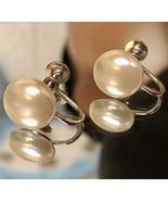 Vintage 1960s Silvertone White Faux Pearl Screw Back Earrings ~Signed H/... - $15.20