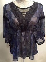 Free People Sheer Watercolor Batwing Lace Trim Tunic Stretch Waist Blous... - $23.99