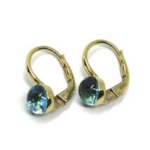 18K YELLOW GOLD LEVERBACK PENDANT EARRINGS, CABOCHON BLUE TOPAZ 6mm image 2