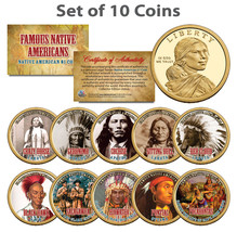 FAMOUS NATIVE AMERICANS Colorized Sacagawea Dollar 10-Coin Complete Set ... - $69.25