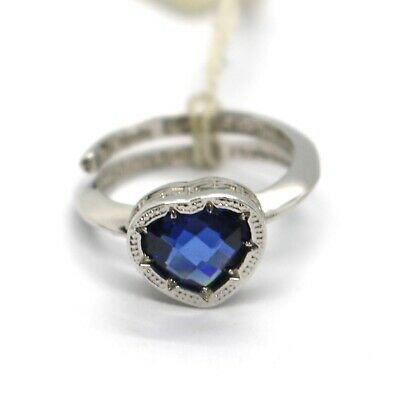 REBECCA BRONZE SOLITAIRE RING, BLUE CUSHION HEART MINI CRYSTAL, ITALY MADE