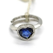 REBECCA BRONZE SOLITAIRE RING, BLUE CUSHION HEART MINI CRYSTAL, ITALY MADE image 1