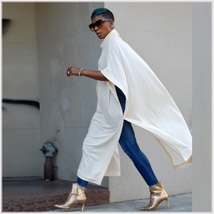 Long Loose Cashmere Cape Tunic Hoodie Open Slit Sides Five Colors And Four Sizes image 5