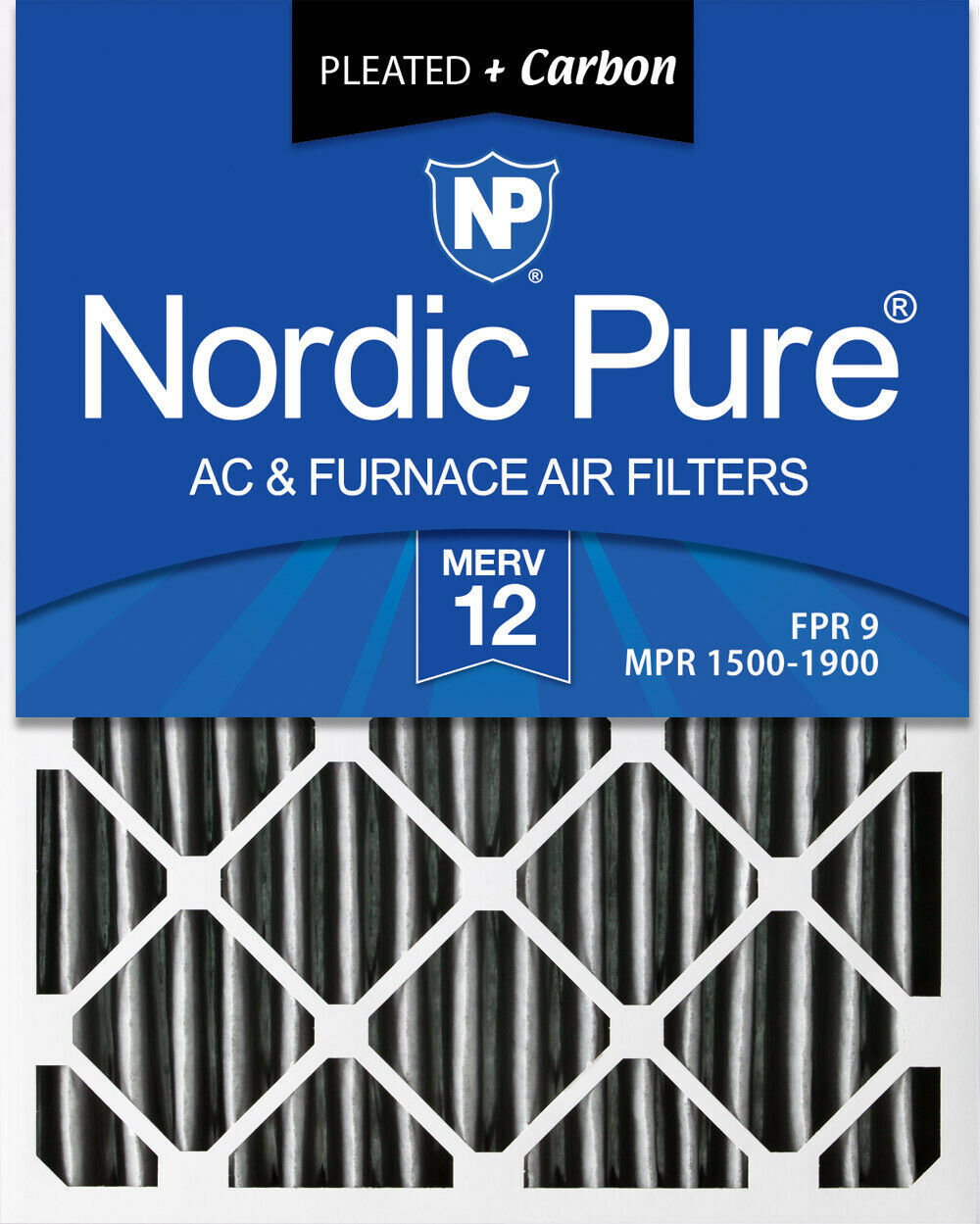 Nordic Pure 18x18x2 MERV 14 Plus Carbon Pleated AC Furnace Air Filters 3 Pack
