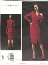Vogue 1361 Donna Karan Mock Wrap Bodycon Knit Dress Pattern Choose Size ... - $18.99