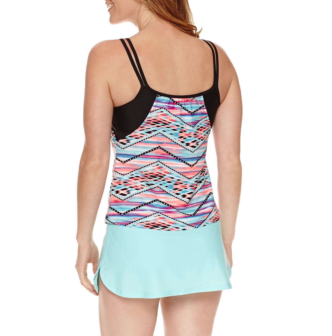 Splashletics Striped Tankini Swimsuit Top Size S, M, XL New Msrp $48.00