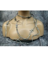 7 feet Fake Silver Black Barbed Wire Barb Costume Prop Decor Crafts Farm... - $9.95