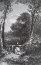YOUNG WOMAN Villagers Forest Path Way to Church - SUPERB 1849 Antique Print - $31.50