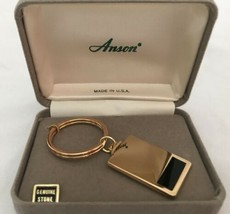 Vintage Anson Goldtone and Onyx Keychain, New in Box - $18.99
