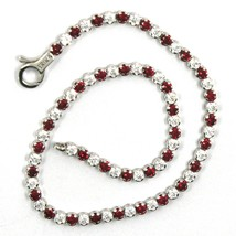 18K WHITE GOLD TENNIS BRACELET RED CUBIC ZIRCONIA 2.5mm LOBSTER CLASP CLOSURE image 2