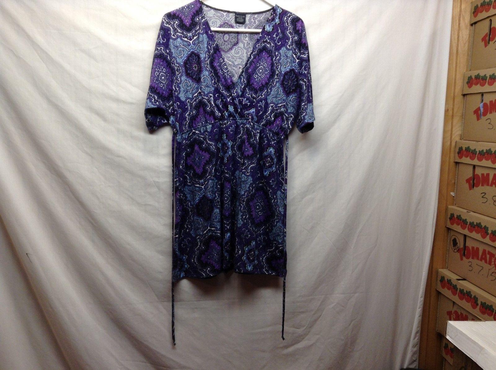 Faded Glory Purple V Neck Dress Sz LG 12-14