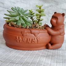 Winnie the Pooh Planter with Succulent Arrangement, Redware Animal Plant Pot image 8