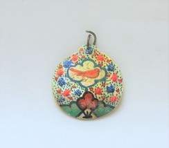 Vintage/antique pendant hand painted shell Persian? mother of pearl bird... - $24.74
