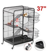 go2buy 37'' Metal Rat Ferret Cage - 4 Level Small Animals Hutch w/ 2 Fro... - $69.35