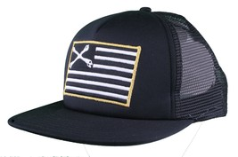 Dissizit! Black Mesh American Cross Bones Flag Trucker Baseball Hat image 2