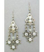 Crystal Clear Rhinestone Earrings Silver Metal Star Chandelier Dangle Pi... - $25.00