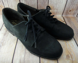 DEXTERr Black Suede Leather Oxford Shoes Tie Front Made in the USA Sz 5M  - $18.61