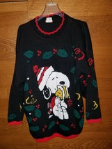 Vinatge Snoopy Peanuts and Friends Black Christmas Knit Sweater - $46.74