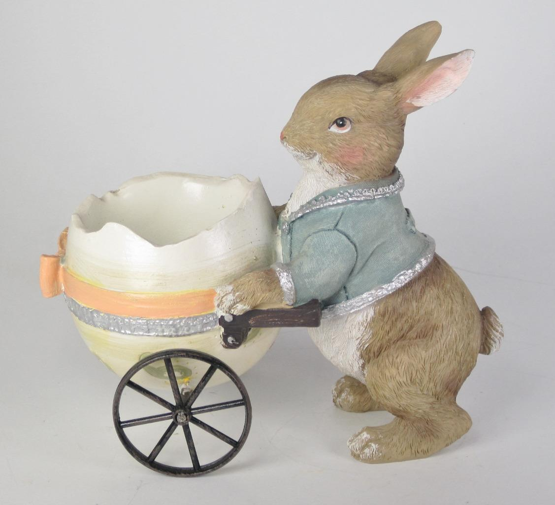"Primary image for 6"" Long Pastel Bunny Rabbit Pushing Egg Cart Figurine Easter Tabletop Decor"