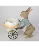 "6"" Long Pastel Bunny Rabbit Pushing Egg Cart Figurine Easter Tabletop Decor - $21.73"