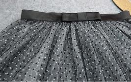 Black Polka Dot Tulle Skirt High Waisted Black Tulle Midi Skirt Outfit image 6