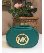Michael Kors MK Fulton Leather Cosmetic Bag Case  Teal Green Blue M4 - $58.04