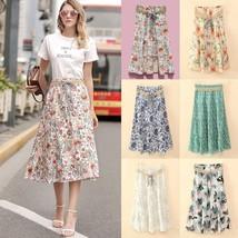 New Summer Bohemia Print Floral Linen High Waist Long Skirt Women Elegant Pleate