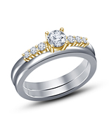 Ladies Two Tone White &14K Gold Sim Diamond Bridal Ring Set Wedding Enga... - $75.48
