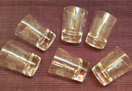 Vintage Etched Glass Shot Glasses Roses Design Mid Century Barware - $18.00