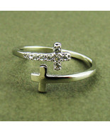 Womens Sideways Double Cross Ring Crystal Silver Rhodium Plated Size Fre... - $8.17
