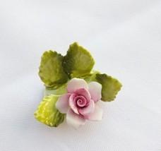Vintage Pink ROYAL ADDERLEY FLORAL BOUQUET Place Card Holder Flower BONE... - $16.95