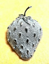 Vintage Silver Tone Sarah Coventry Strawberry Pin - Signed - $12.87