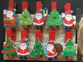 30pcs Santa Clause Photo Clips,Paper Pegs,wood clothespin,Party Gifts Fa... - $7.20